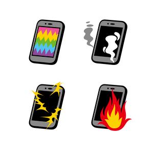 スマートフォン故障(画面破損・発煙・発火・漏電)のイラスト素材 [FYI01655084]