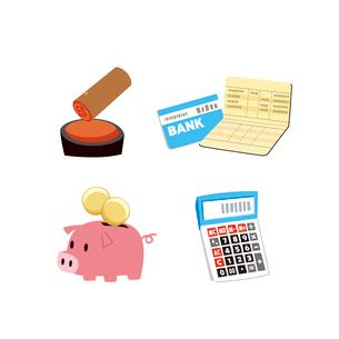 金融(貯金通帳、印鑑、貯金箱、電卓)のイラスト素材 [FYI01655105]