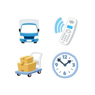 宅配便(トラック、電話、台車、時計)のイラスト素材 [FYI01655170]