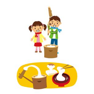 正月と子供(餅つき)のイラスト素材 [FYI01655194]