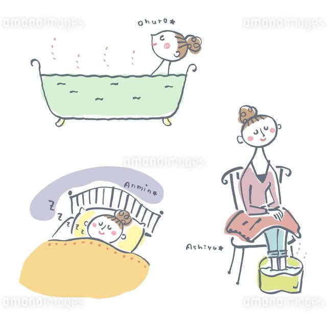 温浴、足湯、快眠、女性  のイラスト素材 [FYI01655223]
