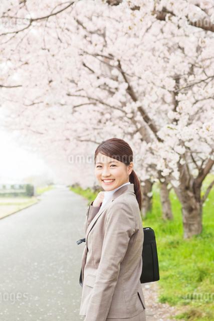 桜と笑顔のビジネスウーマンの写真素材 [FYI01655296]