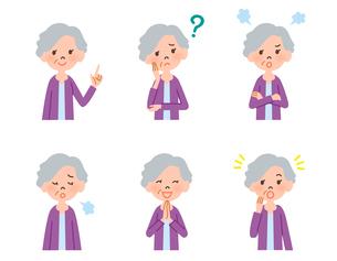 女性高齢者の表情6パターンのイラスト素材 [FYI01655416]