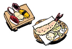 江戸前寿司とてんぷらのイラスト素材 [FYI01655421]