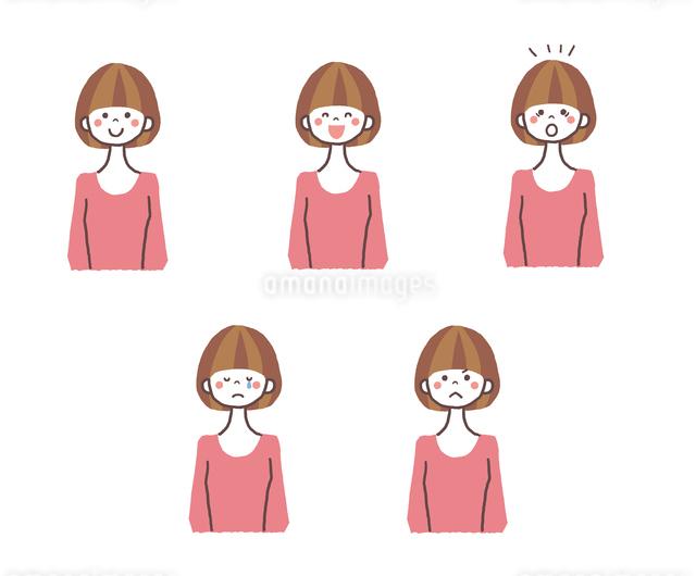 若い女性の表情5パターンのイラスト素材 [FYI01655425]