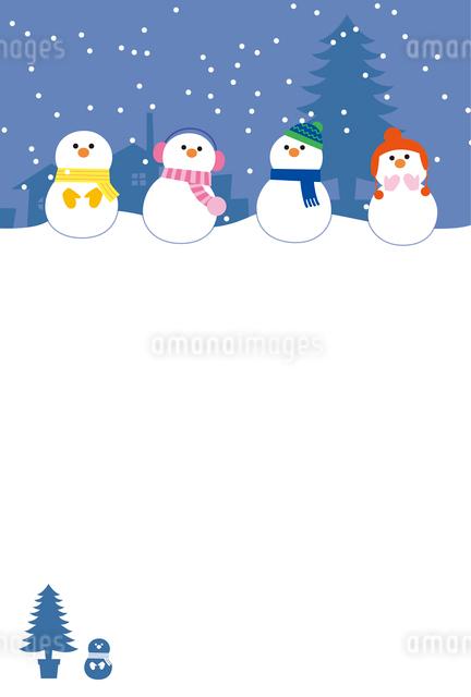 雪だるまの寒中お見舞いのイラスト素材 [FYI01655463]