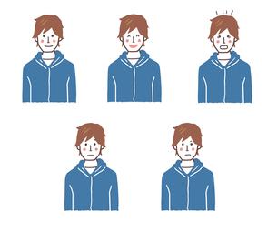 若い男性の表情5パターンのイラスト素材 [FYI01655611]