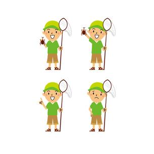 虫取り網を持つ男の子(笑顔、指差し、困り顔)のイラスト素材 [FYI01655648]