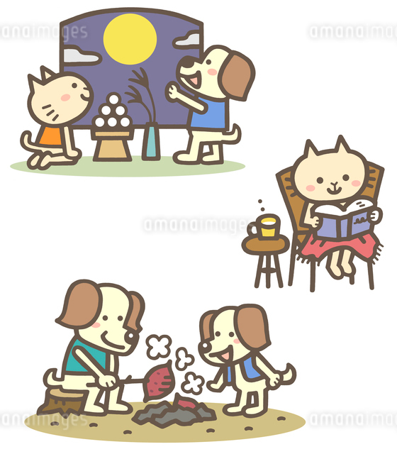 秋の動物キャラ(十五夜、読書、焼き芋)のイラスト素材 [FYI01655673]