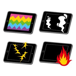 タブレット端末故障(画面破損・発煙・発火・漏電)のイラスト素材 [FYI01655721]