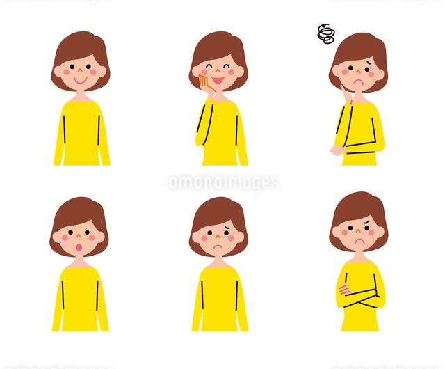 女性(ボブヘアー)の表情6パターンのイラスト素材 [FYI01655793]