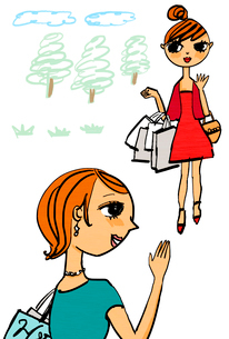 木々を背景に手を振る買い物帰りの女性達のイラスト素材 [FYI01655794]