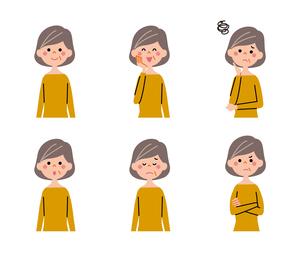 シニア女性(ボブヘアー)の表情6パターンのイラスト素材 [FYI01655844]