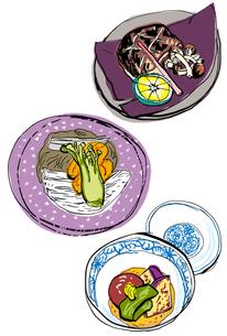 京懐石 焼物と酢肴と強肴のイラスト素材 [FYI01655856]