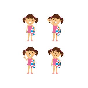 うき輪を持つ水着の女の子(笑顔、指差し、困り顔)のイラスト素材 [FYI01655888]