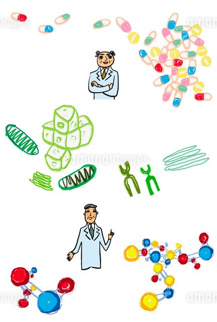 薬のカプセル、染色体を背景にした2人の学者のイラスト素材 [FYI01655986]