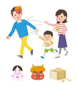 節分をする親子と節分のアイコンのイラスト素材 [FYI01656003]