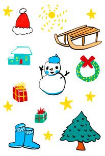 赤い帽子とソリと雪だるまとリースと家と贈り物と木とブーツのイラスト素材 [FYI01656097]
