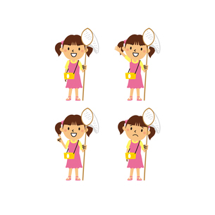 虫取り網を持つ女の子(笑顔、指差し、困り顔)のイラスト素材 [FYI01656104]