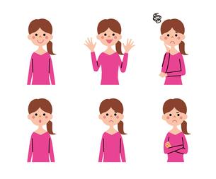 女性(ロングヘアー)の表情6パターンのイラスト素材 [FYI01656249]