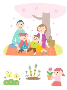 春の家族とちょうちょ・つくしのイラスト素材 [FYI01656259]