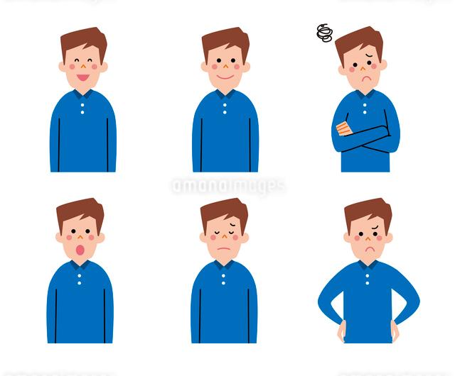 男性の表情6パターンのイラスト素材 [FYI01656283]