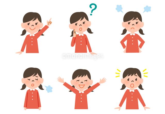 女の子の表情6パターンのイラスト素材 [FYI01656333]