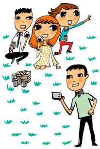 ピクニックをする4人の友人達のイラスト素材 [FYI01656351]