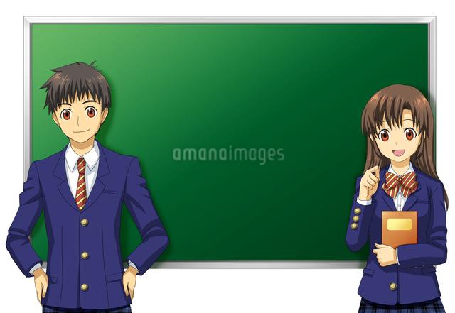 黒板の前に立つ男女の学生のイラスト素材 [FYI01656400]