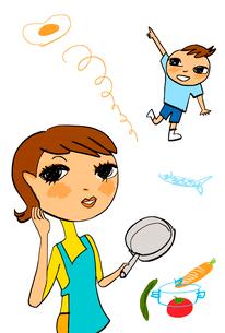 野菜や卵のイメージとフライパンを持つ母親と少年のイラスト素材 [FYI01656402]
