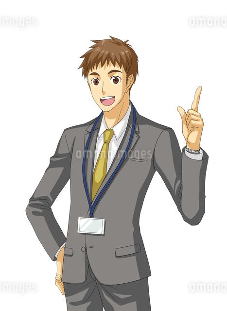 腰に手を当て人差し指を立てるサラリーマンのイラスト素材 [FYI01656440]