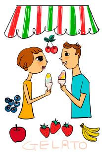 果物を背景にジェラートを食べる若いカップルのイラスト素材 [FYI01656512]