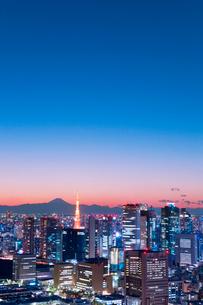 東京タワーと町並夕景色の写真素材 [FYI01656577]