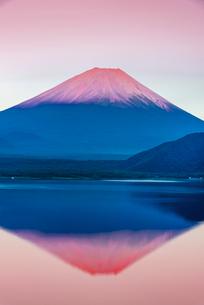 赤富士 本栖湖と富士山の写真素材 [FYI01657175]