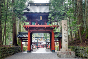 東照宮から日光二荒山神社への参道の写真素材 [FYI01657735]