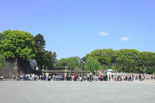 外国人観光客でにぎわう皇居二重橋の写真素材 [FYI01662731]