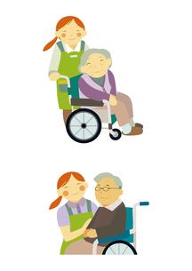 介護士と車いすの高齢者のイラスト素材 [FYI01663641]