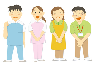 医療現場で働く人々(看護師、介護福祉士、ヘルパー)のイラスト素材 [FYI01663642]