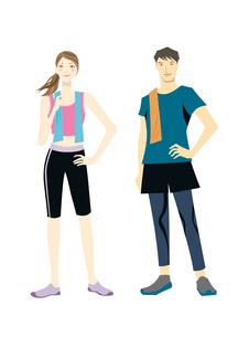 フィットネスイメージ トレーニングウェアの男女のイラスト素材 [FYI01663665]