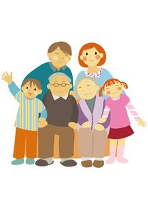 3世代家族の笑顔の団らんのイラスト素材 [FYI01663680]