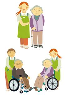 介護士と車いすの高齢者のイラスト素材 [FYI01663688]