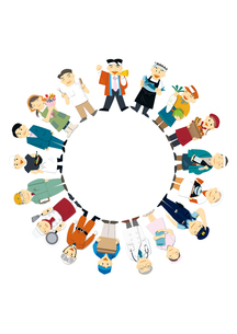 働く人々の輪のイラスト素材 [FYI01663701]