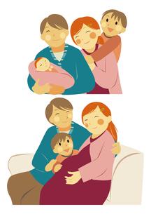 赤ちゃんのいる家族の笑顔の団らんのイラスト素材 [FYI01663711]