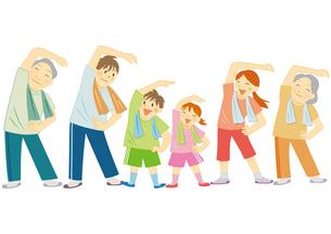 運動をする笑顔の三世代家族のイラスト素材 [FYI01663746]