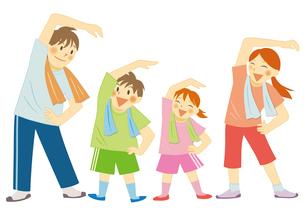 運動をする笑顔の家族のイラスト素材 [FYI01663755]