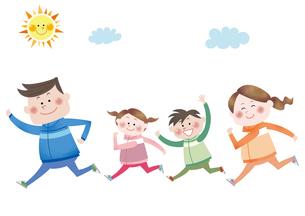 マラソンをする笑顔の家族のイラスト素材 [FYI01663757]