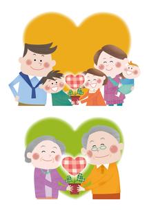 伸びゆく若葉と三世代家族の明るい未来のイラスト素材 [FYI01663759]
