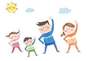 ラジオ体操をする笑顔の親子のイラスト素材 [FYI01663762]