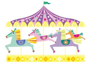 午年年賀状 馬の親子のメリーゴーランドのイラスト素材 [FYI01663768]