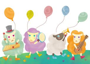 楽器を演奏する羊たち 未年 年賀状のイラスト素材 [FYI01663775]